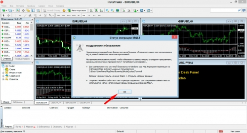 We close the message about updating metatrader 4 (mt4)